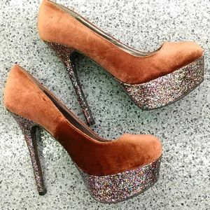Cupid sparkle and velvet party shoes size 7